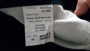Naked and Famous Green Weft Selvedge Size 30