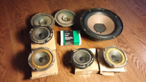 Box of old speakers