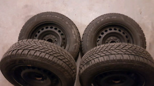 (4) 195 65 r15 Winter Goodyear Tires and Rims- Like New!