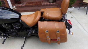 Indian Scout Tan leather Genuine Saddle Bags from dealership