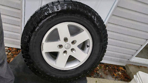 5 255/75/17 Duratrac with Jeep Rims - Almost New!