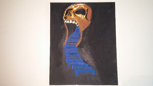Skull painting with stairs