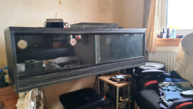 Reptile vivarium with thermostat and heater