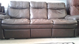 Brown leather recliner in good condition,
