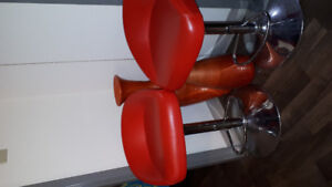 2 red  bar stools for sale