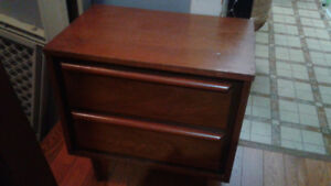 2 Drawer Bed Table-Teak-Real Wood $25. Firm