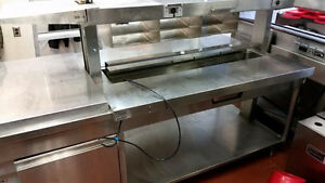 Prep table with heated boards & bun steamer for sale