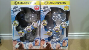 Adult US diver snorkel sets , still in boxes