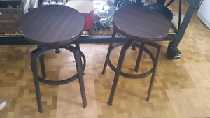 2 dark brown/black island stools