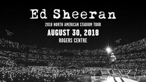 Ed Sheeran- 3RD ROW FLOOR SEAT tickets for August 30th concert.