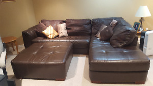 Chocolate Brown Leather Sectional and Ottoman