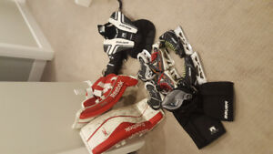 "Atom/Novice Goalie gear with S170 and 26+1"" pads"