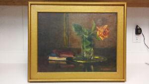 Antique Anna Russel still life oil painting