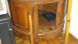 Vintage 50's marble top wooden cabinet coffee table bois cafe