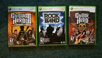 XBOX 360 Rock band drums, two guitars & 3 games