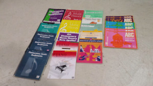Learning books for piano and flute.