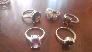 Ladies size 6 7 silver rings