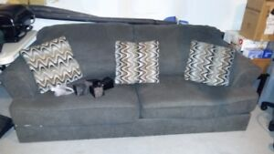 couch and loveseat with 5 pillows