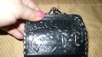 VINTAGE ADORABLE HAND MADE 1950'S BLACK LEATHER COIN PURSE
