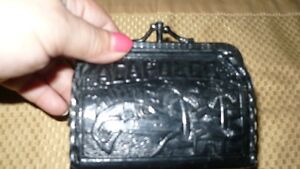 VINTAGE ADORABLE HAND MADE 1950'S BLACK LEATHER COIN PURSE Kitchener / Waterloo Kitchener Area image 1