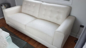 Sofa blanc causeuse 2 places / White couch Modern
