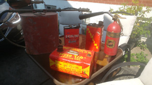 Vintage Fire Fighting back Tank and gas tins$65!!!!