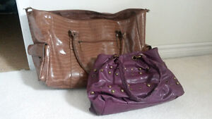 Brown Travel Bag & Purple Purse