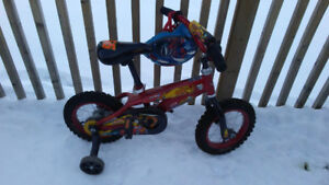 Boys 12 inch Lightning McQueen Bike, with Spiderman Helmet