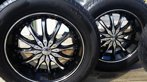 "20"" black and Chrome rims and tires for sale"