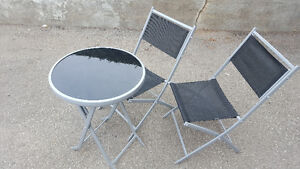 bistro set 2 tables and 4 chairs 1 long benchs