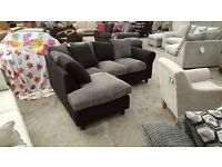 Brand new black / grey corner sofa with matching armchair