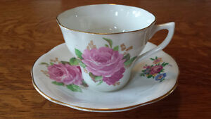 A Clare Bone China Tea Cup Set With Pink Roses For Sale!