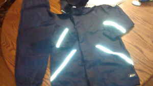 Mountain Co-op Navy Rain Suit Jacket & Pants Reflective Stripes