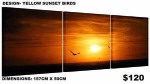 SPLIT Yellow Sunset Birds - FRAMED CANVAS PRINTS ! Modern Art Baldivis Rockingham Area Preview