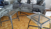 Set of 3: clear glass 1 coffee table and 2 end tables