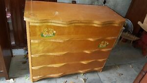 Vintage Mid-century solid wood dresser with 4 drawers - to paint