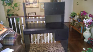 Black desk with hutch