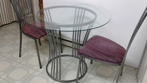 Dining Set: Glass Table + Two Chairs