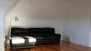 Black leather L couch