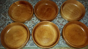6 solid maple Baribo-Maid wood salad bowls - made in Quebec