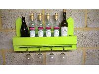 Coloured Rustic Wine & Glass Rack / Holders