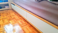 Ikea Mandal Queen Size Bed frame with storage, birch, white