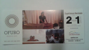 2 of 1 discount coupons at the Ofuro spa in the Laurentides.