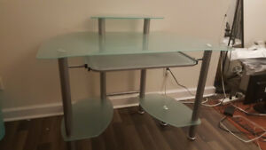 Large frosted glass desk with keyboard tray
