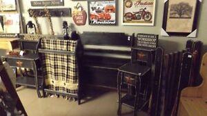 Antique Black Decons Bench