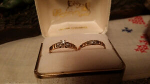 14k white gold and yellow Ladies engagement set