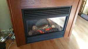 Large wooden electric fireplace