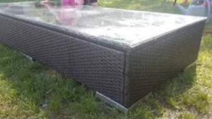Wicker outdoor coffee table with glass top