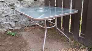 Patio table with lazy Susan