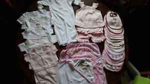 Brand New girls 0-3 months clothes, bibs and towels